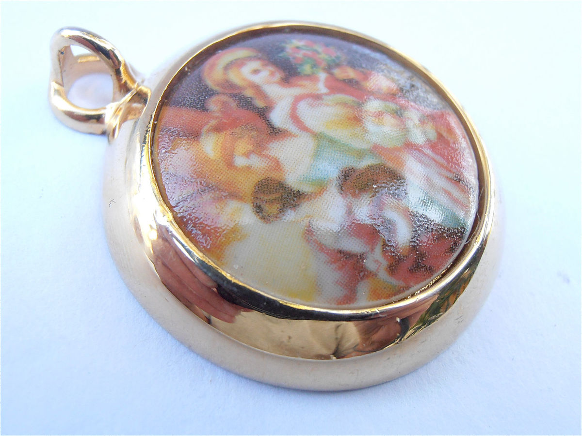 Vintage Limoges Pendant Limoges Cabochon Pendant Limoges Necklace Limoges Cameo Pendant Limoges Ceramic Pendant Limoges Porcelain Necklace - product images  of