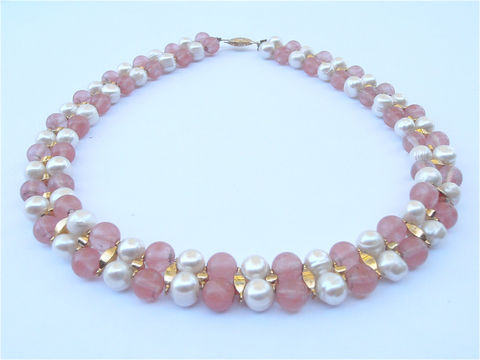 Vintage,Rose,Quartz,Pearl,Necklace,Double,Strand,Pink,Stone,Cultured,Genuine,17,Inch,9mm,Bead,Translucent,Bridal,Entourage,Villa,Collezione,vintage rose pink quartz pearl bead necklace, vintage pink quartz stone bead necklace, genuine pearl necklace, vintage pink white necklace, vintage double strand white pearl pink stone necklace, vintage 9mm cultured pearl rose quartz necklace