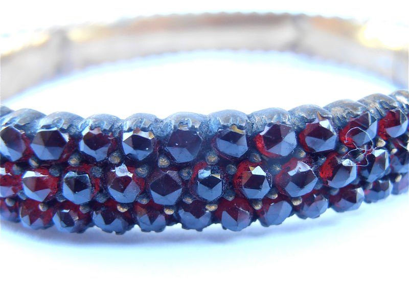 Vintage Garnet Bracelet Antique Genuine Czech Red Stones Bangle Bohemian Victorian Garnet Rose Cut Garnet Three Rows Multi Rows - product images  of