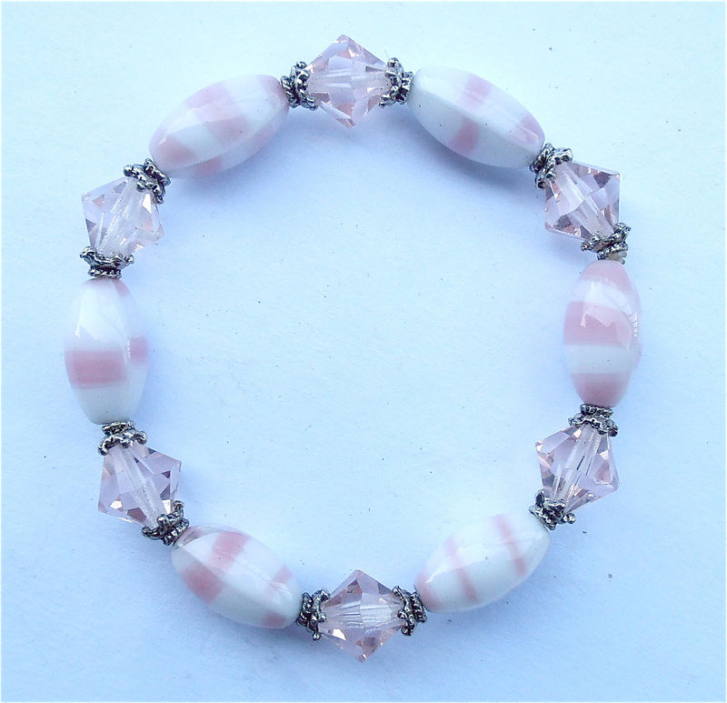 Handmade Baby Pink Stripe Elastic Bracelet White Crystal Glass Candy Stripe Bracelet Bead Stretch One Size Fiits All Ooak Pastel Kawaii  - product images  of