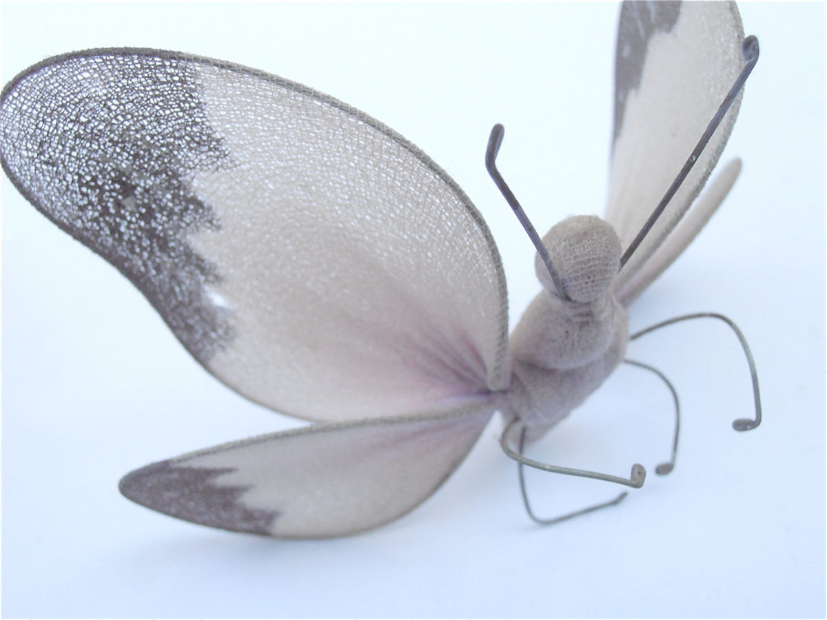 Vintage Lavender Butterfly Wings Nylon Figurine Lilac Purple Translucent Wired Shabby Cottage Chic Decorative Decoration Papillion Mariposa - product images  of