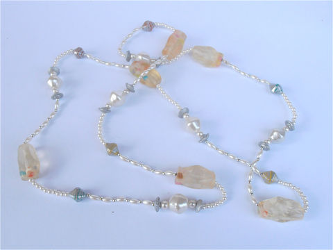 Vintage,Pastel,Candy,Nougat,Necklace,White,Faux,Pearl,Seed,Single,Strand,Retro,Silver,Color,Flower,Floret,48,Inch,Extra,Long,Villacollezione,vintage faux seed pearl long strand necklace, vintage white candy nougat long necklace, vintage retro white bead pearl, vintage imitation pearl single strand pastel color bead necklace, silver color flower bead necklace, villa collezione, villacollezione