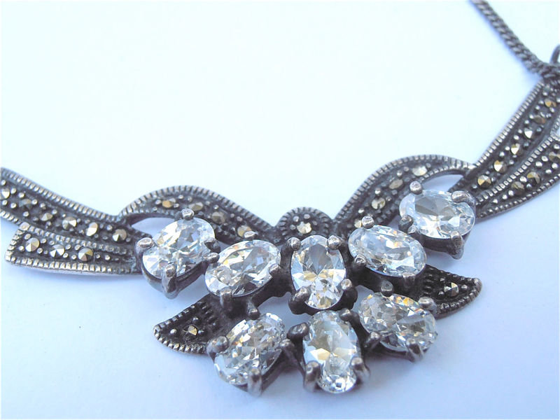Vintage Art Deco Necklace Clear Topaz Necklace Marcasite Necklace Ribbon Silver Necklace Ribbon Necklace Butterfly Necklace Bow Necklace - product images  of