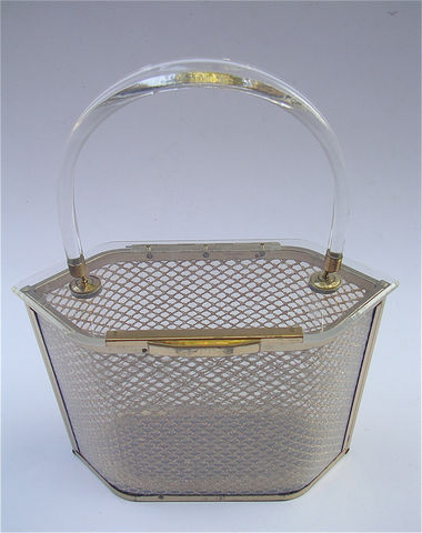 Vintage,Lucite,Bag,Art,Deco,Clear,Handbag,Hard,Side,Structured,Transparent,Purse,Case,Bags_And_Purses,clear_lucite_handbag,gold_mesh_design,see_through_lucite,transparent_lucite,gold_brass_bag,weave_gold_mesh,hard_sided_purse,vintage_lucite_bag,clear_hard_side_bag,hexagon_six_side_bag,clear_structure_bag,clear_hard_case_bag