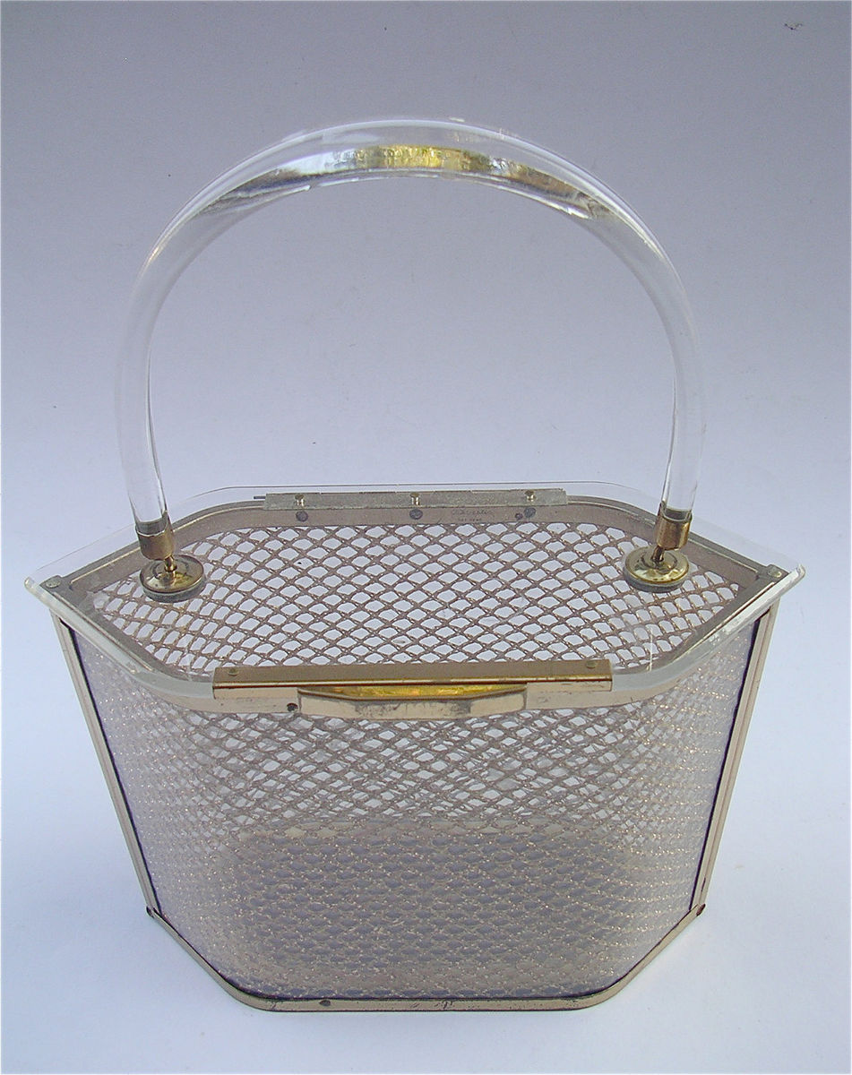 Vintage Lucite Bag Art Deco Bag Clear Lucite Handbag Clear Hard Side Bag Structured Bag Transparent Handbag Lucite Purse Hard Case Purse - product images  of