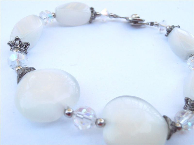 Handmade White Cats Eye Bracelet Heart Shape Gemstone Silver Tone Star Caps Stone Jewelry Bride Bridal Entourage Wedding Maid of Honor  - product images  of