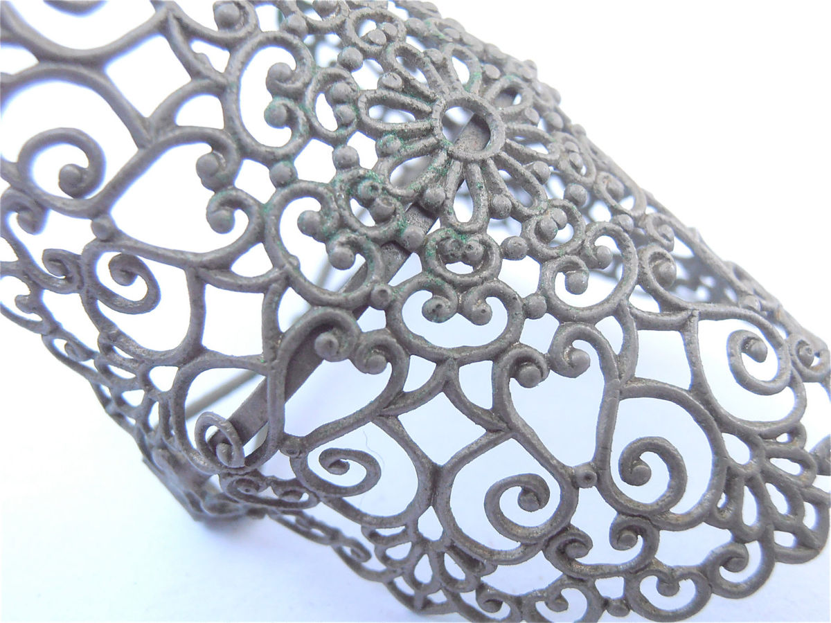 Vintage Lace Ponytail Holder Filigree Ponytail Silver Ponytail Vintage Ponytail Ornate Ponytail Open Cut Ponytail Vintage Hair Accessory - product images  of