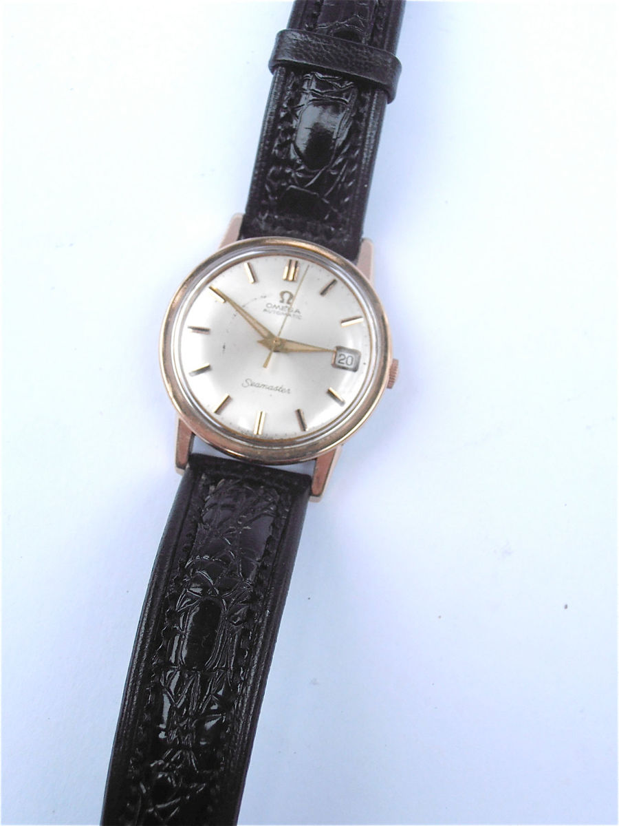 Vintage 60s Omega Seamaster Watch Genuine Pink Gold Plated Wrist Time Piece Omega Mens Dress Rose Plated Fine Timepiece Villacollezione - product images  of