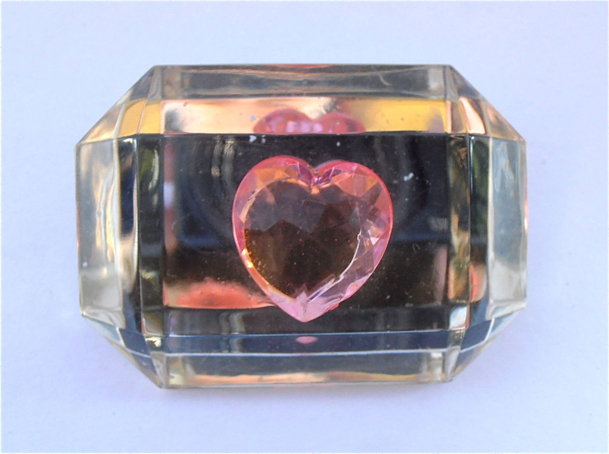 Vintage Pink Heart Lucite Acrylic Brooch Mirror Faceted Transparent Clear Oversized Emerald Cut Large Pin Thick Plastic Villacollezione - product images  of