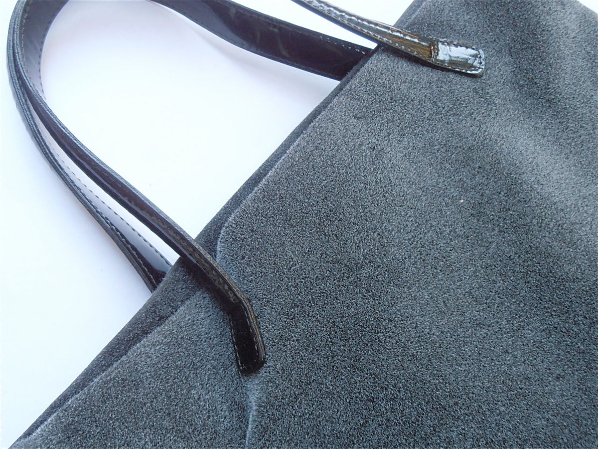 Vintage Italian Gray Kalliste Handbag Grey Tote Gray Texture Bag Shopping Everyday Traveling Travel Deep Black Patent Handle Villacollezione - product images  of