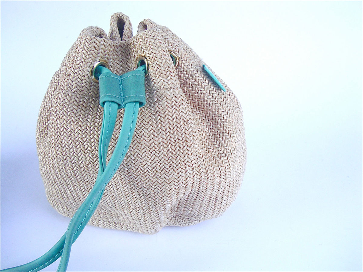 Vintage Beige Teal Purse Woven Bag Drawstring Pouch Hermes Amazone Perfume Gift Bag Rare Hermes Turquoise Makeup Cosmetic Travel Toiletry - product images  of