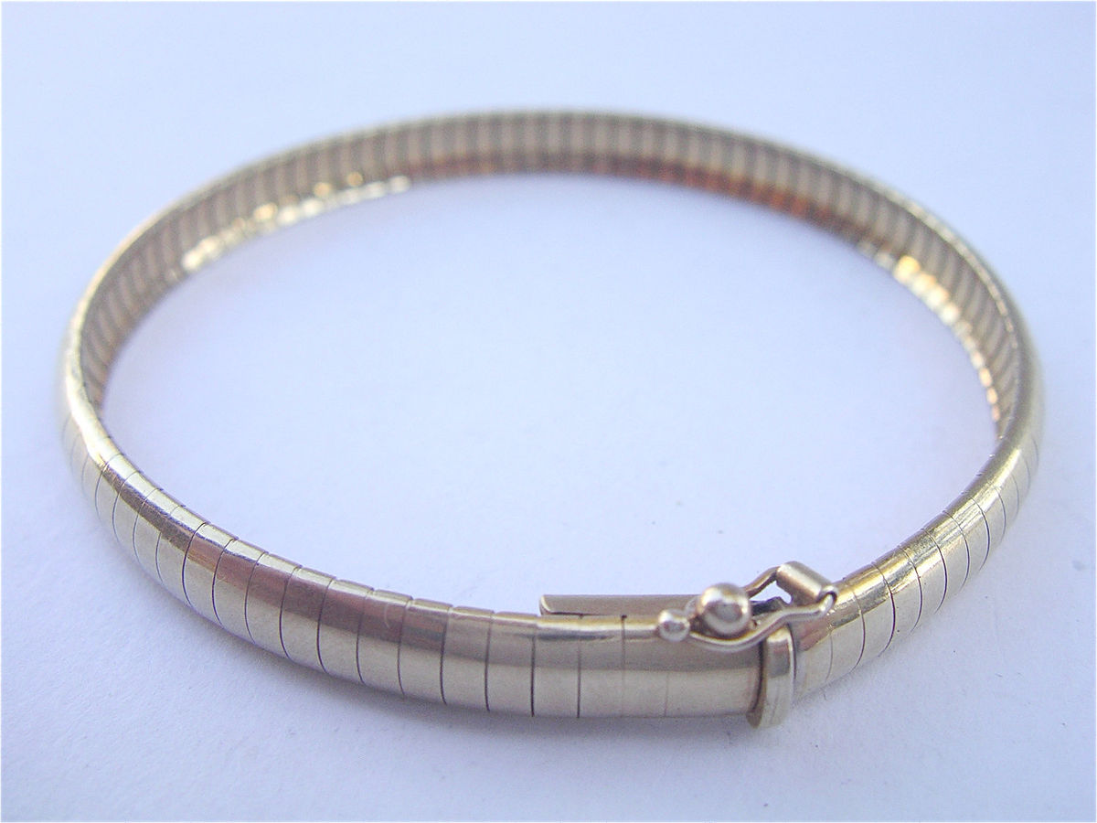 Vintage 14K Gold Omega Link Bracelet Genuine Yellow Gold Women Ladies Omega Classic Authentic Bracelet Italian Made Italy Villacollezione  - product images  of