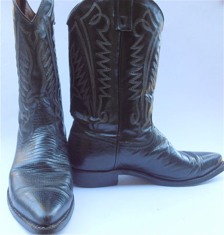 Vintage,Texas,Cowboy,Boots,Black,Mens,Leather,Size,10D,Western,Lizard,vintage texas black cowboy leather boots, vintage black mens boots, texas mens black, mens boot size 10D, lizard western boots, vintage lizard boots, mens tall boot leather shoes, villa collezione, villacollezione, texas brand cowboy boots