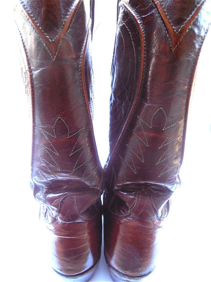 Vintage Burgundy Mens Cowboy Boots Maroon Cowboy Mens Boots Vintage Dan Post Mens Cowboy Boots Men Size 10D Cowboy Leather Western Boots - product images  of