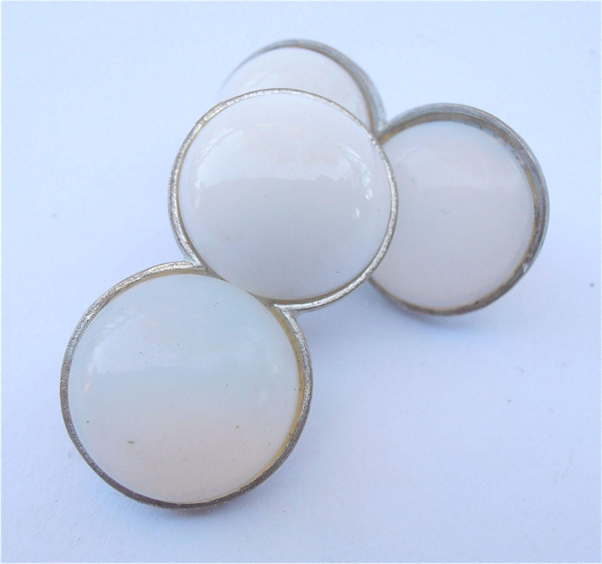 Vintage White Cabochon Go Go Earrings Translucent Opalite Glass Clip Ons Retro Double Two Round Silver Tone Art Deco Mod Style Collezione - product images  of