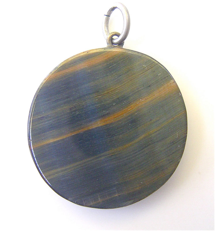 Vintage Round Tigers Eye Pendant Vintage Emerald Green Pendant Green Tigers Eye Pendant Gold Tigers Pendant African Tigers Eye Disc Necklace - product images  of