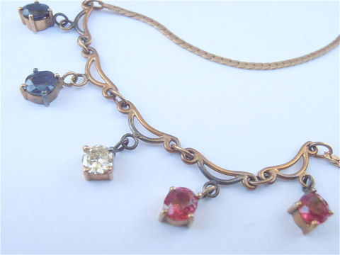 Vintage,Diamond,Ruby,Sapphire,Necklace,Genuine,14K,Italian,Gold,Flat,Chain,Art,Nouveau,Dangling,Precious,Gemstones,Deco,Villacollezione,vintage rubies sapphires diamond necklace, vintage 14k italian gold flat link necklace, vintage ruby 14k gold necklace, vintage genuine sapphire 14k gold necklace, vintage art deco precious gemstones necklace, vintage art nouveau ruby diamond necklace