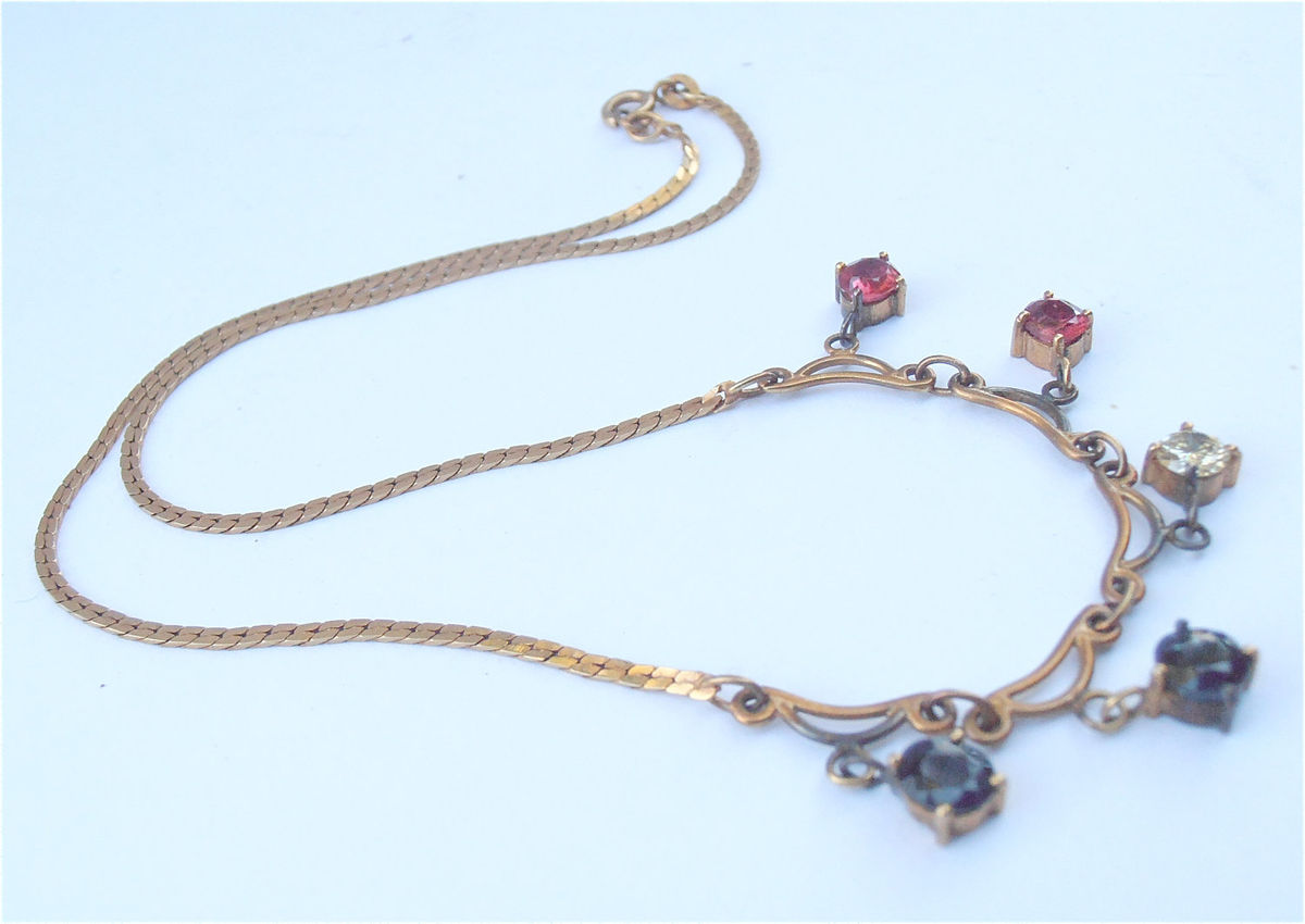 Vintage Diamond Ruby Sapphire Necklace Genuine 14K Italian Gold Flat Chain Art Nouveau Dangling Precious Gemstones Art Deco Villacollezione - product images  of