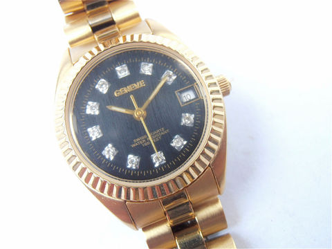 Vintage,Geneve,Ladies,Watch,Gold,Tone,Inspired,Dress,Fashion,Accessory,Crystal,vintage geneve gold tone watch, vintage faux diamond geneve ladies watch, geneve fancy ladies watch, geneve crystal ladies watch, geneve round black dial face womens watch, 1922 geneve watch, villacollezione, villa collezione, geneve ladies dress watch