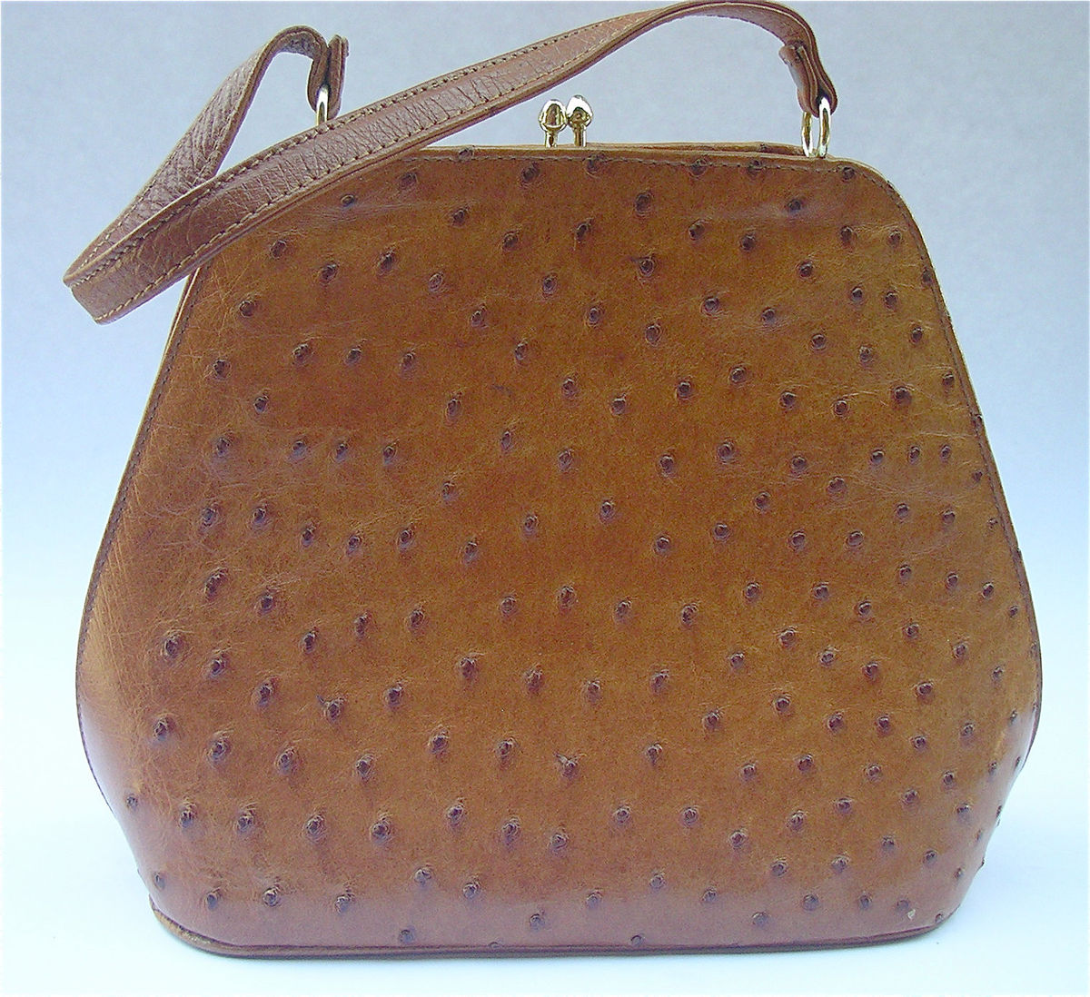 Vintage Ostrich Handbag Retro Tan Handbag Genuine Ostrich Kelly Handbag Structured Handbag Hard Side Purse Vintage Burnt Orange Leather Bag - product images  of