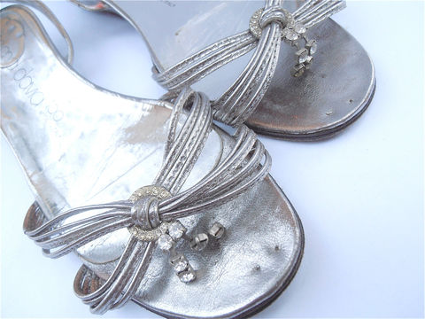 Vintage,Silver,Sandals,Italian,Joan,David,Shoes,Rhinestone,Designer,Bling,Ladies,Size,8,vintage silver rhinestones leather shoes, vintage joan david silver sandals, silver rhinestone sandals, italian leather sandals, silver rhinestone sandals ladies womens size 8, silver strap shoes, vintage silver sandals ladies shoe size 8, villacollezione