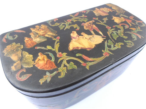Vintage,Decoupage,Black,Box,Gentleman,Wood,Container,Paper,Ephemera,Wooden,Courting,Scene,Jewelry,Serenading,French,Souvenir,Half,Moon,vintage paper ephemera black jewelry box, vintage courting scene black half moon box, vintage black wood decoupage box, vintage european french ladies notions keepsake box, vintage renaissance era half moon shape black box, vintage red velvet lined box