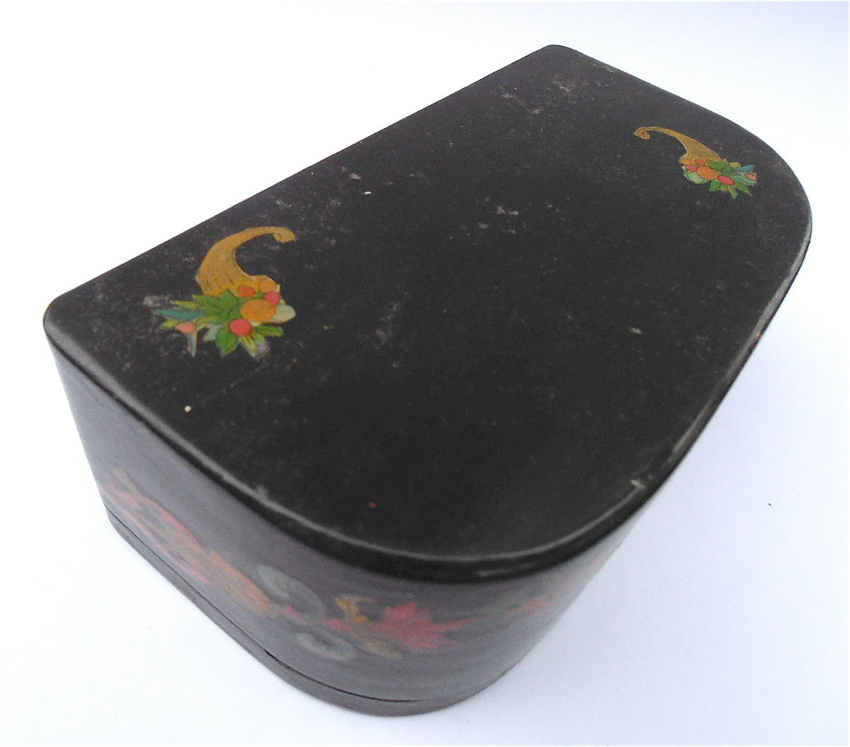 Vintage Decoupage Black Box Gentleman Wood Container Paper Ephemera Wooden Courting Scene Jewelry Serenading French Souvenir Half Moon - product images  of