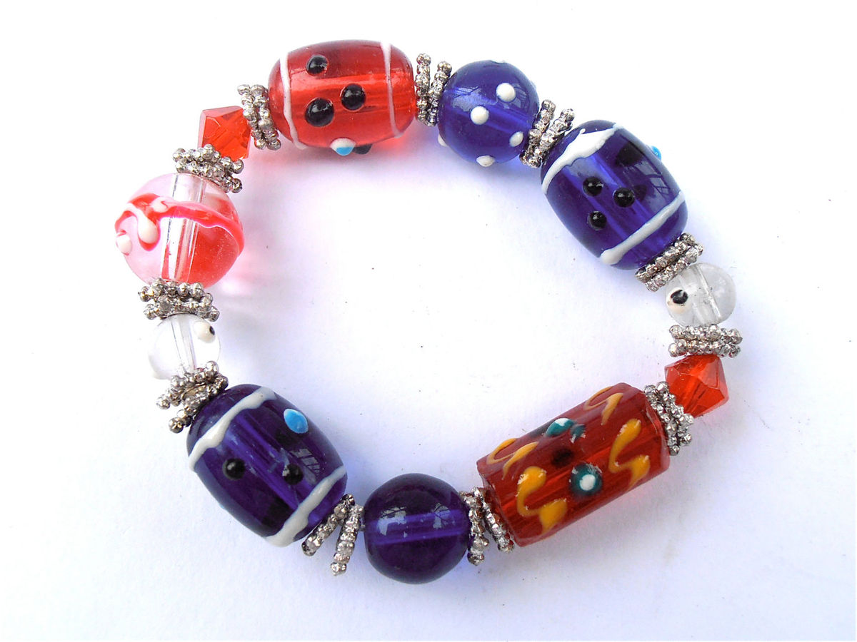 Handmade Blue Red White Glass Bead Bracelet Elastic Kawaii Cute 4th of July 4 Costume Jewelry Theme Stretch One Of O Kind OOAK Crystal - product images  of