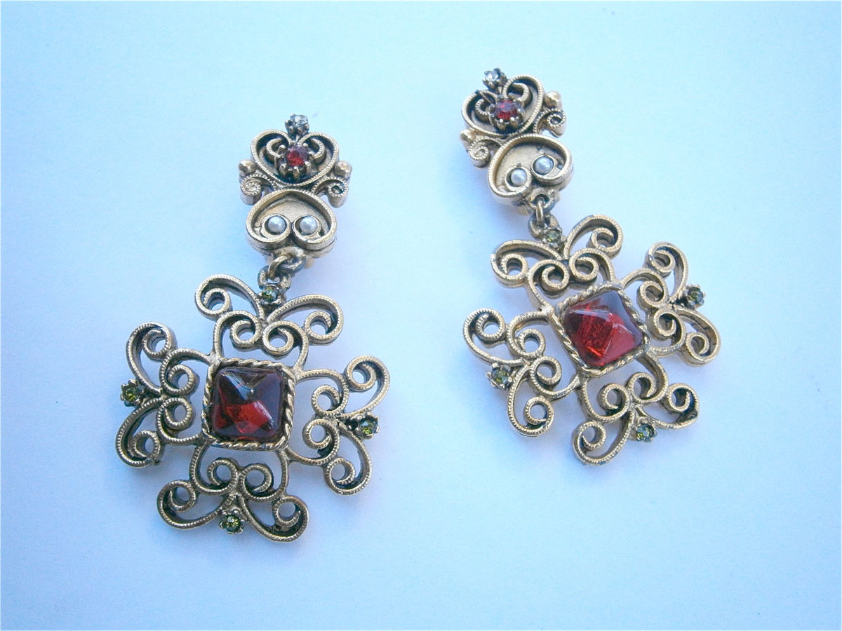 Vintage Garnet Color Dangling Earrings Designer Gerard Yosca Gold Tone Byzantine Design Inspired Seed Pearl Costume Jewelry High End Elegant - product images  of