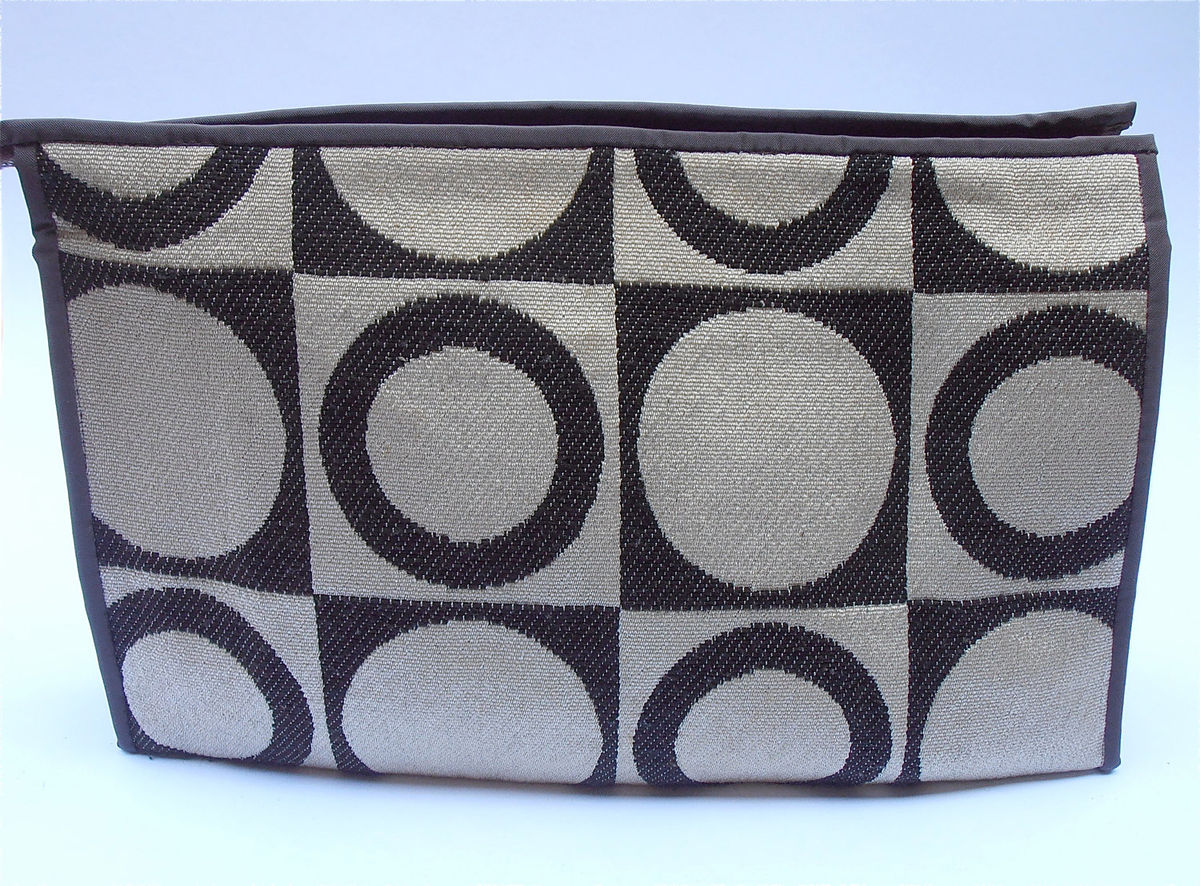 Vintage Brown Clutch Purse Retro Geometric Pattern Circles Travel Retro Make Up Makeup Cosmetic Pop Art Beige Bag Brown  - product images  of