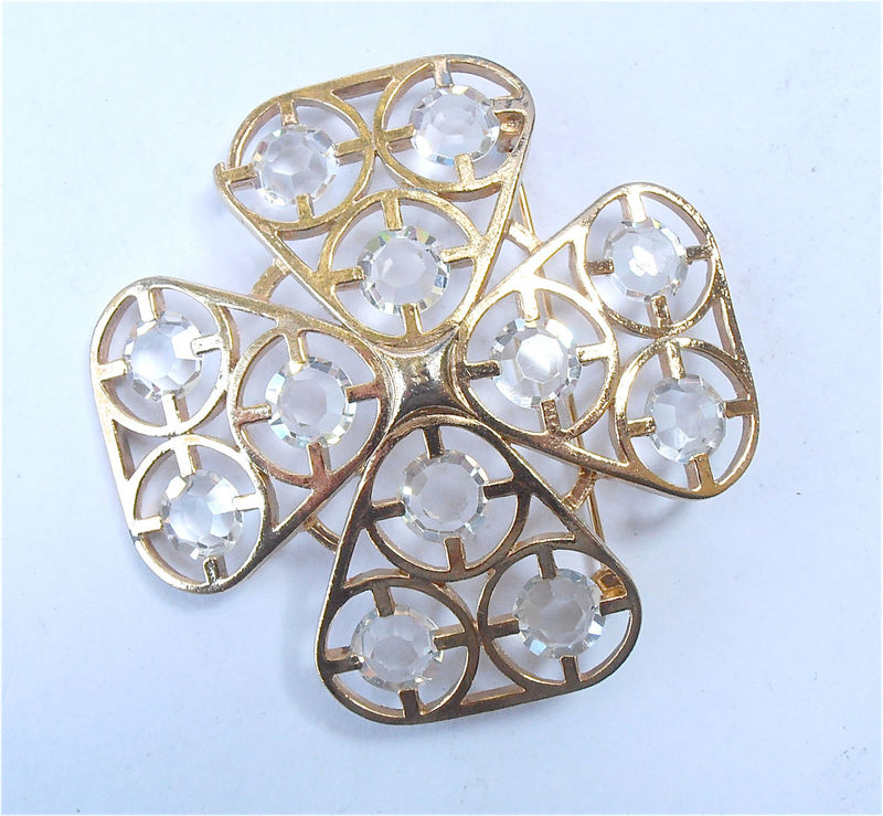 Vintage Cross Brooch Vintage Clear Lucite Brooch Gold Criss Cross Brooch Four Leaf Brooch Vintage Acrylic Brooch Vintage Shamrock Brooch - product images  of