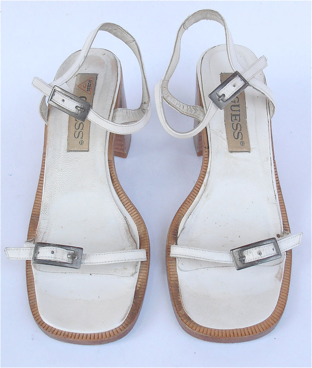 Vintage White Sandals White Strap Sandals White High Heel Sandals Guess Shoes White Designer Shoes White Retro Sandals White Leather Shoes - product images  of