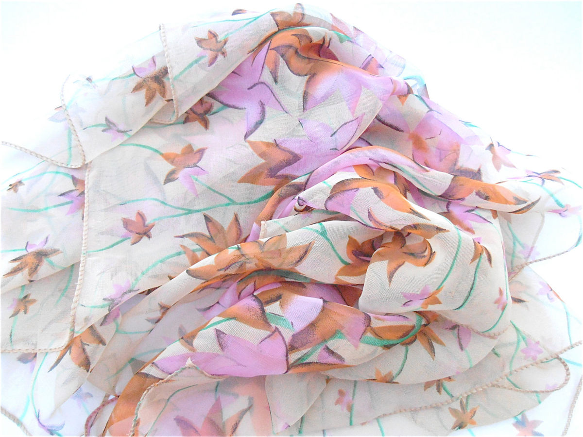 Vintage Autumn Fall Season Floral Scarf Foliage Leaves Pink Burnt Orange Long Rectangular Seasonal Wrap Large Villacollezione Collezione - product images  of