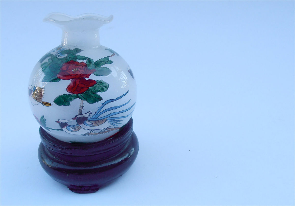 Vintage Chinese Painted Miniature Vase Frosted Jar Exotic Birds Red Yellow Flowers Asian Mini Glass Frost Bottle Ruffled Lip Rim Floral - product images  of