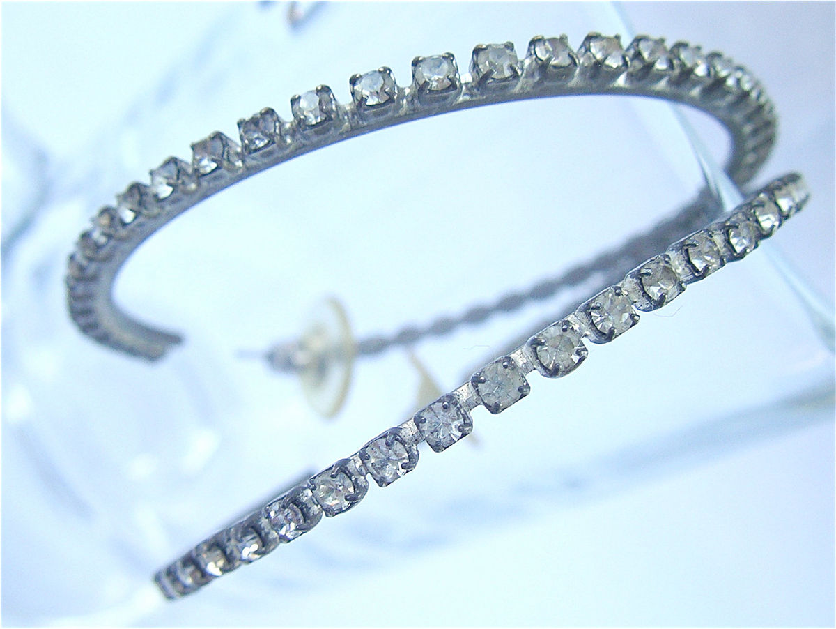 Vintage Rhinestone Studded Hoop Earrings Silver Tone Loop Post Stud White Crystal Clear 3mm Stone Bling Costume Jewelry Villacollezione - product images  of