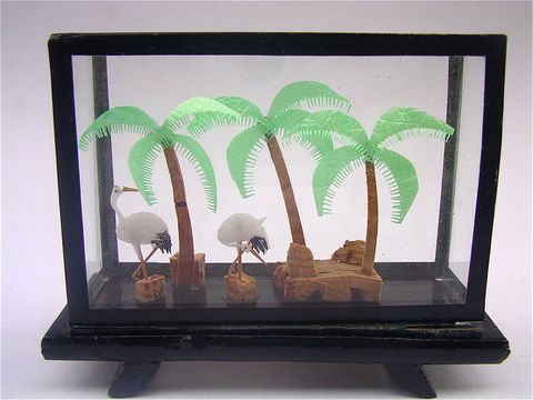 Vintage,Carved,Cork,Art,Asian,Chinese,Shadow,Box,Glass,Frame,Cranes,Green,Palm,Trees,Decor,carved cork artwork, black lacquer box, coconut palm trees, chinese asian decor, asian diorama art, white birds cranes, vintage carved cork, asian cork artwork, chinese cork art, art shadow box, box glass frame, green palm trees, cork, villacollezione