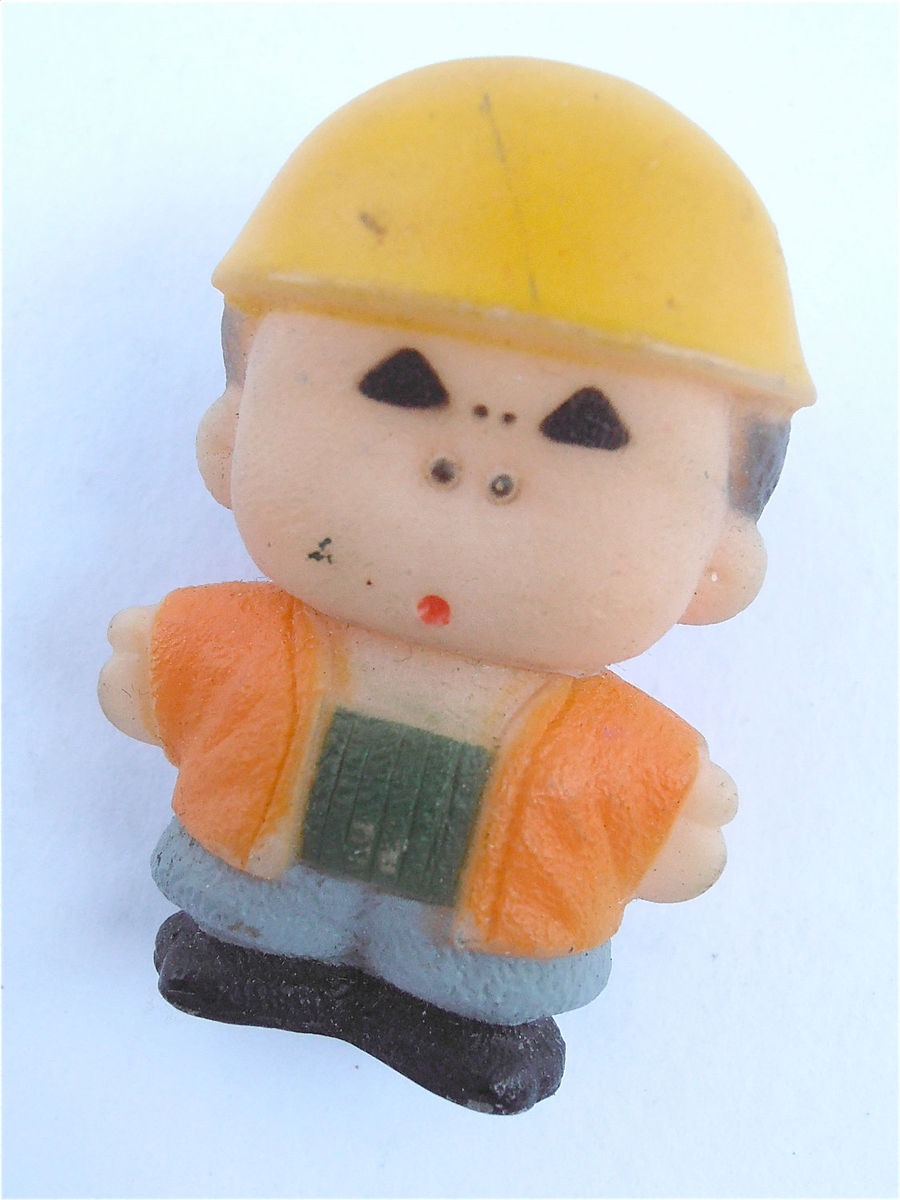Vintage Little Man Kawaii Brooch Construction Cute Pin Yellow Brooch Cute Boy Brooch Yellow Safety Hard Hat  Orange Vest Hard Plastic Child  - product images  of