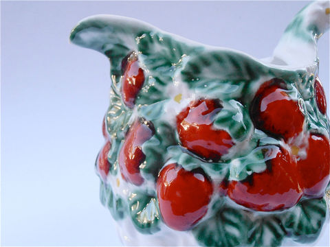 Vintage,Strawberry,Pitcher,Italian,Ceramic,White,Embossed,Italica,ARS,Pottery,Juice,Container,Water,Jar,vintage strawberry ceramic pitcher, vintage strawberry embossed jar, red green pottery pitcher, vintage strawberry vase, juice water pitcher, vintage italian ceramic jar, kitchen red decor, strawberry patch ceramic pitcher, vintage italian ars pottery