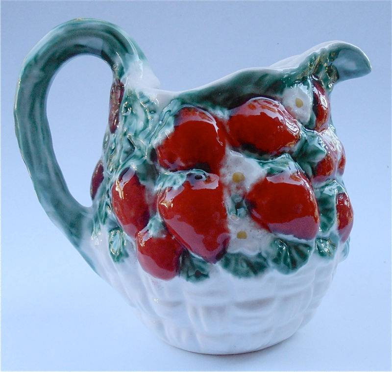 Vintage Strawberry Pitcher Italian Ceramic White Embossed Ceramic Italica Italian ARS Pottery Pitcher Juice Container Water Ceramic Jar - product images  of