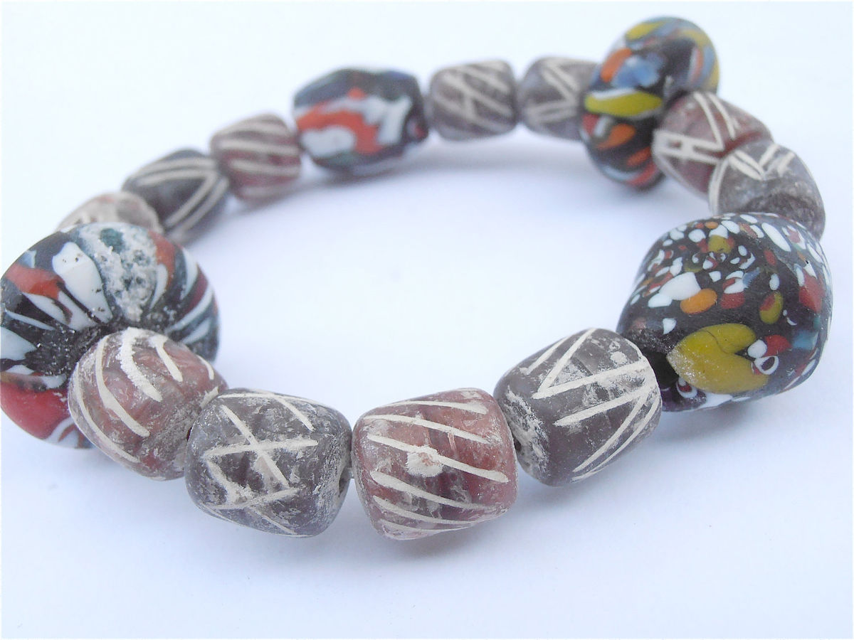 Handmade Colorful Clay Beads Bracelet Chunky Terracotta Stone Multicolored Brown Large Single Strand Glass Elastic Stretch Villacollezione - product images  of