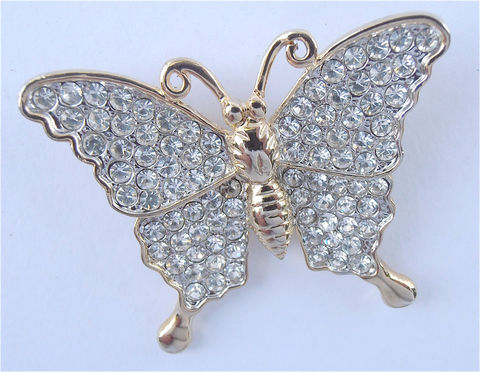 Vintage,Butterfly,Brooch,Rhinestone,Bling,Studded,Gold,Pin,vintage gold tone rhinestone butterfly brooch, rhinestone gold tone papillon brooch pin, glam fab bling pin, rhinestone gold pin, vintage crystal butterfly brooch, mad men brooch, hollywood props, gold butterfly, villacollezione, villa collezione