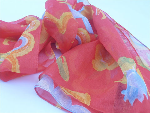 Vintage,Red,Scarf,Chiffon,Harve,Benard,Floral,Designer,Flower,Italian,vintage harve benard floral red scarf, vintage red flower chiffon scarf, vintage red designer scarf, vintage red blue italian scarf, villa collezione, vintage long rectangle scarf, vintage red head scarf, floral bandanna, villacollezione