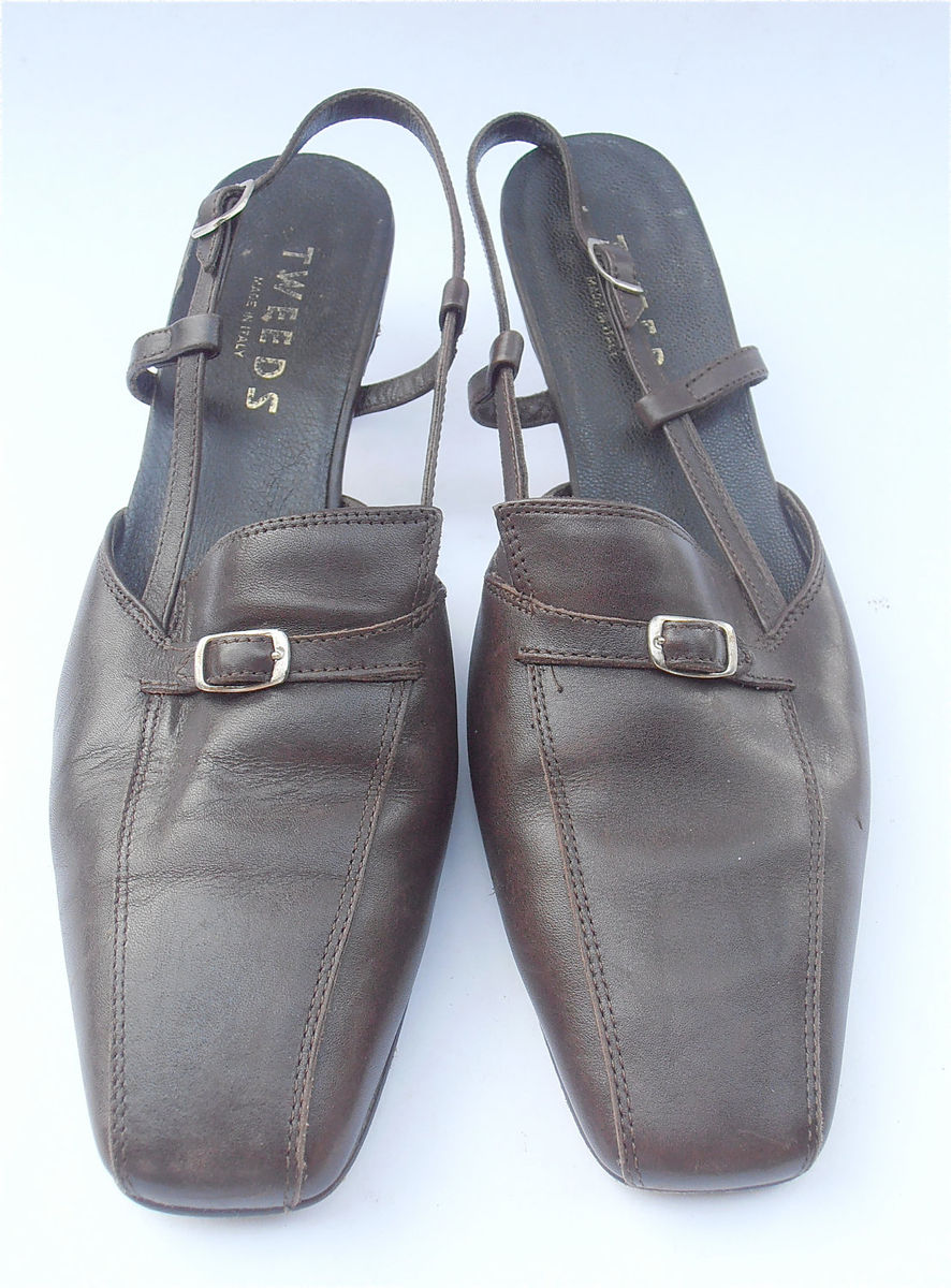 Vintage Brown Shoes Italian Leather Shoes Brown Ladies Shoes Kitten Heels Womens Shoe Size 7.5 Brown Sling Back Shoes Silver Buckle Design - product images  of