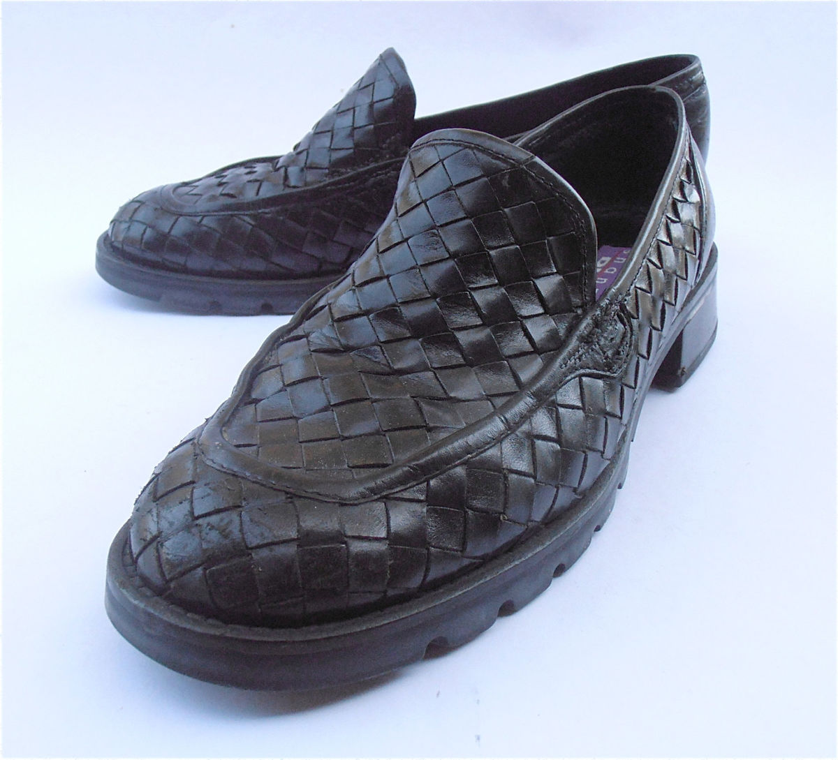 Vintage Weave Black Shoes Black Woven Leather Shoes Black Loafers Black Flat Shoes Black Weave Leather Loafers Shannon Diego Ladies Size 7.5 - product images  of