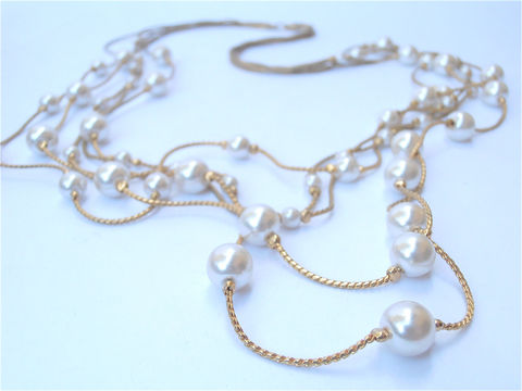 Vintage,Multistrand,Pearl,Necklace,Gold,MOP,Mother,of,Link,vintage multistrand pearl necklace, vintage gold tone multistrand necklace, bridal bride pearl gold necklace, vintage faux mop mother of pearl, vintage gold link necklace, vintage multi strand pearl necklace, vintage gold tone multi strand necklace