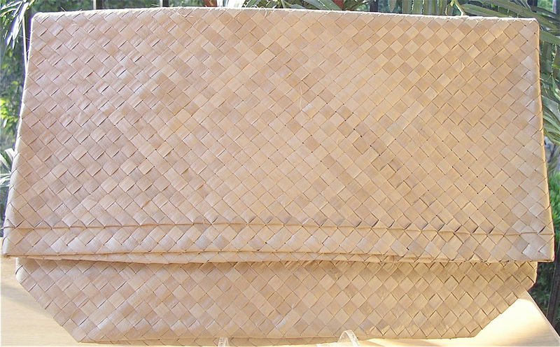 Vintage Pastel Bag Straw Purse Beige Woven Clutch Vintage Natural Straw Bag Pastel Ribbons Bows Woven Sack Envelope Bag Retro Clutch Purse - product images  of