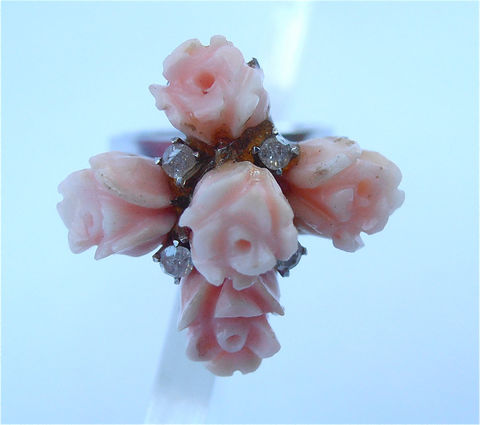 Vintage,Coral,Ring,Diamond,Carved,White,Gold,Peach,Flower,7.5,8,vintage 14k white gold ring, vintage carved coral flower ring, vintage diamond ring size 8, ladies ring size 7, vintage peach coral floral ring, vintage coral diamond ring, peach coral ring, coral flower ring, mad men ring, vintage diamond coral ring