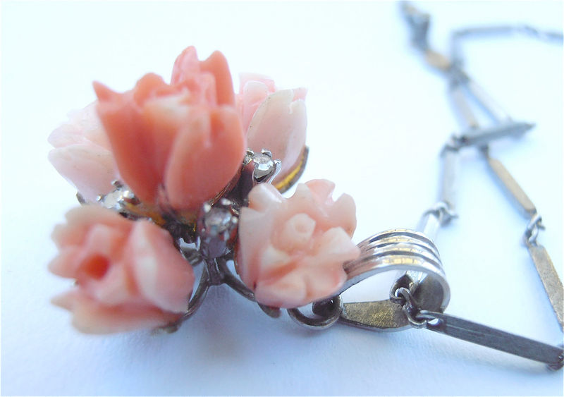 Vintage Peach Coral Diamond Necklace Carved Pendant 14K White Gold Chain Roses Flower Floral 60s Studded Villacollezione Villa Collezione - product images  of
