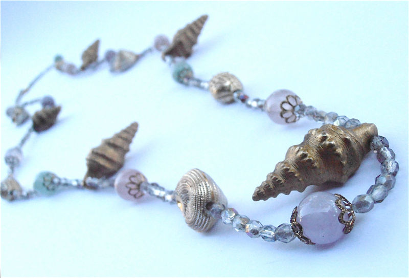 Vintage Pastel Gemstone Necklace Precious Gemstone Necklace Aventurine Necklace Amethyst Necklace Seashell Necklace Aurora Borealis Necklace - product images  of