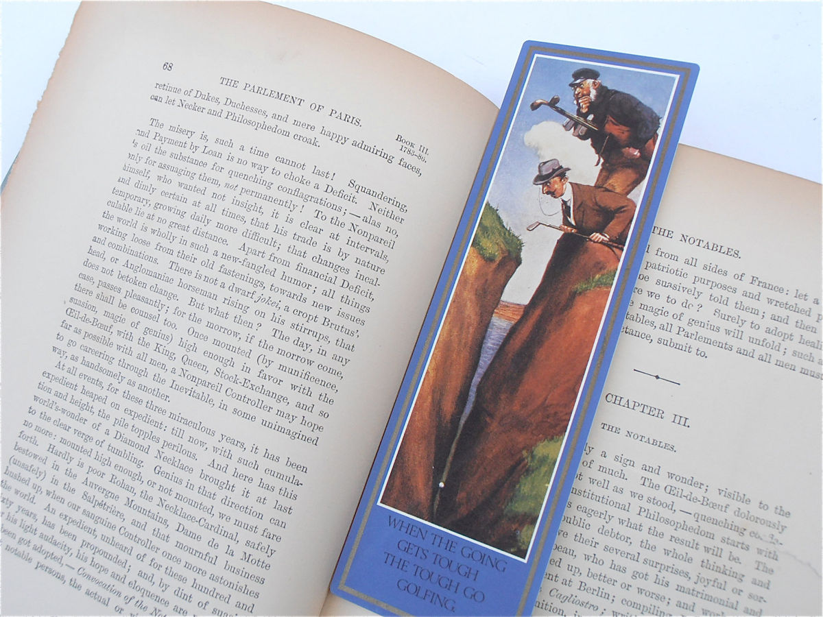 Vintage Golfer Bookmark Charles C Crombie Golf Painting What Shall I Take For This Art Print Fine Art Quality Artworks Artprints Collectible - product images  of